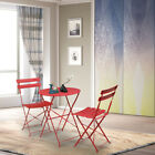 3pc Table Set Folding Chairs Bistro Garden Backyard Patio Outdoor Furniture Red