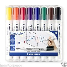 STAEDTLER LUMOCOLOUR WHITEBOARD MARKER PENS - desktop box of 8 colours