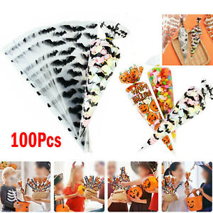 100PCS Cone Bags Sweet Treat Candy Kid Party Christmas Halloween Cellophane Bag