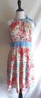 NWT Eva Franco 10 Summer Flower Print Keyhole Chambray Neck Tie Accent Dress