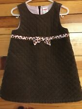 *GYMBOREE* Girls KITTY GLAMOUR Brown Quilted Jumper Dress Leopard Trim Size 2T