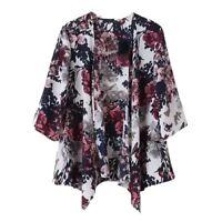 Manteau Blazer Blouse Cardigan Kimono a l'encre imprime floral retro pour l Z8Q1