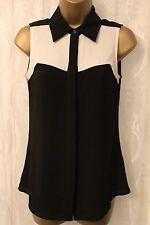 Karen Millen Contrast Panel Collar Sleeveless Top Blouse Black Button Shirt 8 36