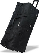 "36"" Polyester Rolling Duffel Wheeled Luggage Suitcase Travel Duffel Bag - Black"
