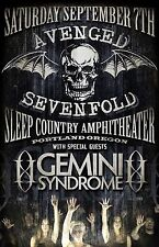 AVENGED SEVENFOLD /GEMINI SYNDROME 2013 PORTLAND CONCERT TOUR POSTER-Heavy Metal