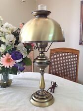 Vintage Brass Hurricane Lamp with Chimney Stack in EXCELLENT Condition 3Way Bulb