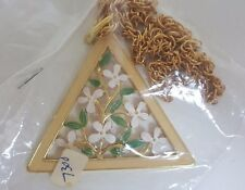 Vintage Triangle Vine Flower Enamel Pendant Charm Necklace Gold Crown Inc NOS