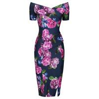 PRETTY KITTY Navy Purple Floral Print Cap Sleeve Bodycon Wiggle Pencil Dress