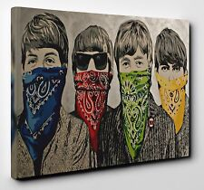 Banksy The Beatles Bandanas Stunning Canvas Wall Art Print Picture Size A1 20x30