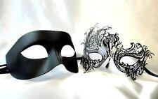 Couple Masquerade Mask Set  Black Swan Costume School Birthday Wedding Party