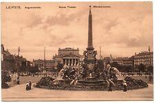 LEIPZIG Augustusplatz Neues Theater Mendebrunnen Vintage Postcard Germany