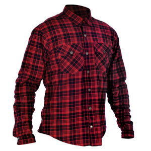 Oxford Kickback Aramid Lined Water Resistant Motorcycle Shirt Red & Black Med