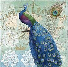 Nan: Le Plume II Keilrahmen-Bild Leinwand Pfau Vögel blau Landhaus Shabby