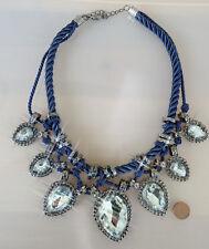 PRACHTVOLL*Modeschmuck Kette blaue Kordel mit riesigen Kristallen*