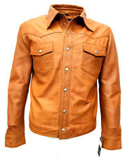 Men's Genuine Lambskin Leather Shirt Vintage Motorcyle Jacket Biker Slim Fit
