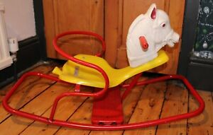 Vintage Leeway Metal & Plastic Rocking Horse Ride on Toy - Will Courier
