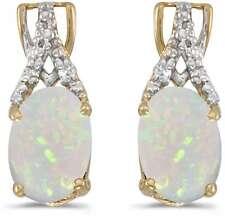 10 Quilates ovalado de oro amarillo ópalo y Diamante Pendientes e2620-10