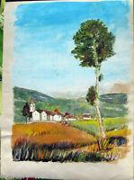 Acquerello '900 su carta Watercolor-Paesino di campagna-firmato A.Bergamo (72)