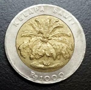 1996 INDONESIA 1000 RUPIAH KM 56 BIMETAL PALM TREE XF AU LOVELY COIN