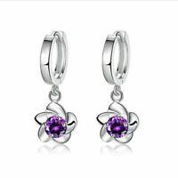 Stainless Steel Crystal Lady Dangle Ear Stud Hoop Earrings Women Jewelry Spiral
