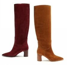 34/45 Women Pointy Toe Chunky Heel Biker Mid Calf Boots Casual Outdoor Shoes L