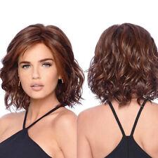 Fashion Women's Short Curly Wigs Brown Wavy Hair Full Wig Heat Resistant 40cm