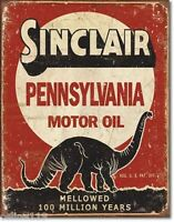 "Sinclair Motor Oil 12.5"" x 16"" Vintage Style Metal Tin Signs Dino Texaco Gas Can"