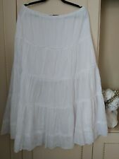 La Redoute white crinkle cotton layer frill gypsy summer skirt size 14/16 UK.