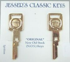 CADILLAC Pair Yellow Gold Plated VATS Ignition Keys 1989 - 1997 Crest & Wreath