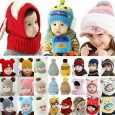 Kids Toddler Babys Boy Girls Winter Knitted Pom Beanie Hat Cap Warmer Scarf Set