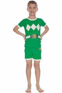 2T green Power Ranger Boys Toddler Mighty Morphin Pajama Set