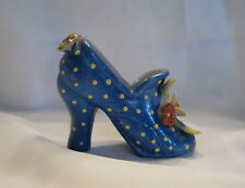Vintage Ceramic Blue High Heel Shoe With White Dots And Flowers Figurine Japan
