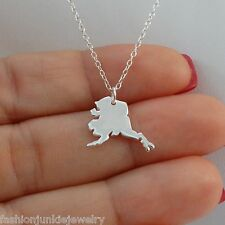 Alaska State Charm Necklace - 925 Sterling Silver - US State AK Charms NEW