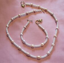 14K Solid Gold CFW Pearl Necklace & Matching Bracelet with Heart Toggle Clasps