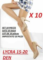 SET OF 10 PAIRS TIGHTS LYCRA 15-20 DENIER DEN OPAQUE GREAT QUALITY SIZE S M L XL