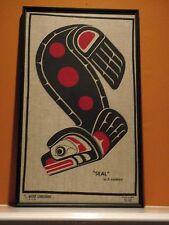 "NATIVE CANADIANA ART ON LINEN ""SEAL"" BY D HARPER FRAMED"