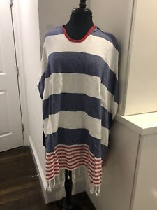 New Turkish T Adults Unisex Coverup Swim Pullover Terry Towel Blue Red Stripe