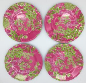 Lilly Pulitzer pink floral print melamine plates set of 4 Pink Green