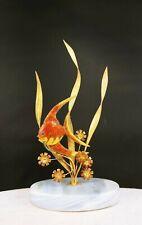 SuHai SIGNED Chinese Oriental Filigree 925 STERLING SILVER ENAMEL FISH figurine