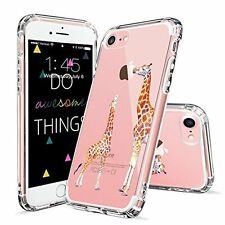 iPhone 7 Case MOSNOVO Cute Giraffe Clear Hard Back Cover with Soft TPU Bumper