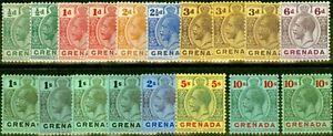Grenada 1913-22 Extended Set of 18 SG89-101a V.F Lightly Mtd Mint