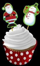 48 Piece Christmas Cupcake Case Picks Santa Snowman Party Home Kids Decoration