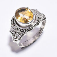 Citrine Gemstone Silver Sterling 925 Boho Ring Indian Handmade Jewelry New