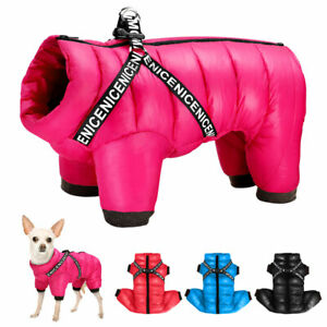 Dog Coat Jacket with Vest Strap for Small Medium Dogs Cozy Waterproof Snowsuit