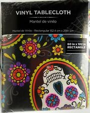 60x102 Skull Vinyl Tablecloth Day of the Dead Dia De Los Muertos