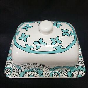 """La Jolie Muse Porcelain Butter Dish w/ Lid 7"""" x 5"""" x 4"""" Teal & White"""
