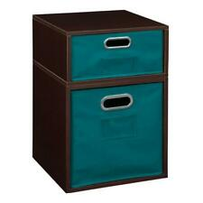 Niche Cubo Storage Set- 1 Full/1 Half w/ Foldable Storage Bins- Truffle/Teal