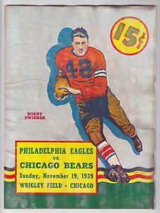 Nov. 19, 1939 Philadelphia Eagles vs. Chicago Bears Program Rare Poor Condition