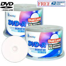 100 P SmartBuy DVD+R DL 8X 8.5GB Dual Layer White Inkjet Printable Record Disc