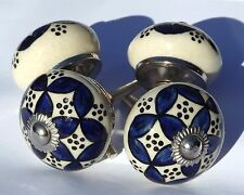 ceramic drawer door pulls Cream round knobs with Blue pattern dots(chrome) x4